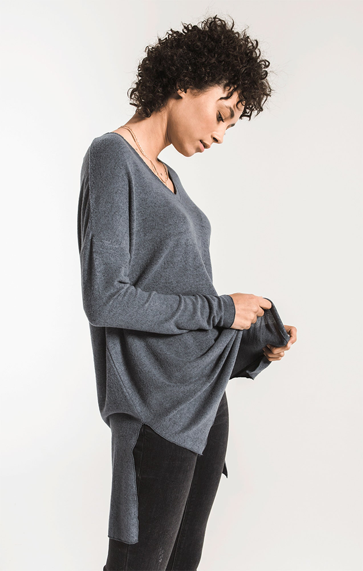 Tops Marled Sweater Knit V-Neck Tunic Storm Grey