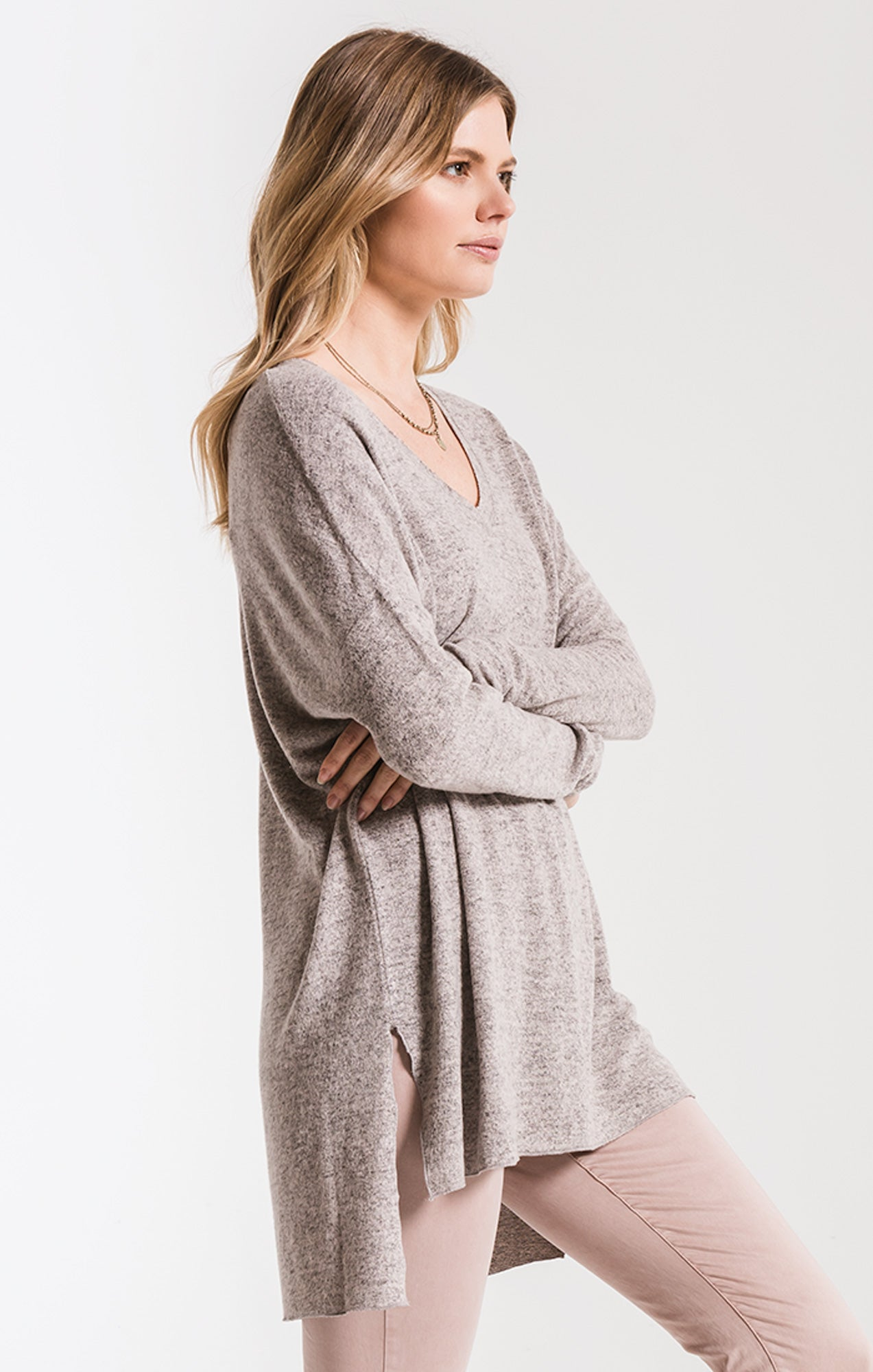 Tops Marled Sweater Knit V-Neck Tunic Mushroom