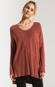TopsThe Marled Sweater Knit V-Neck Tunic Mesa Red