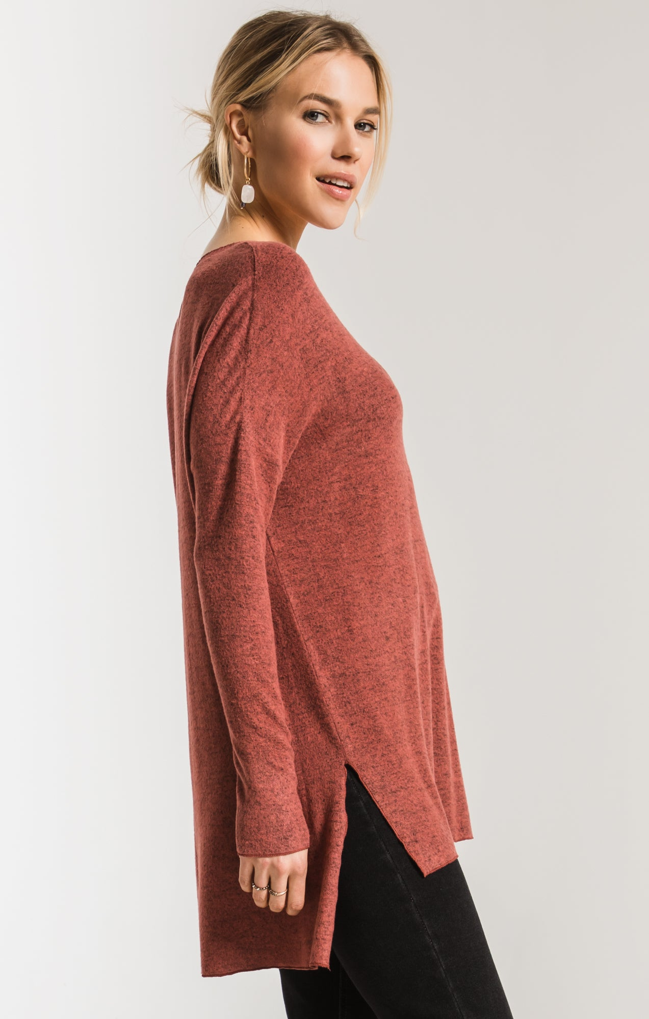 Tops Marled Sweater Knit V-Neck Tunic Mesa Red