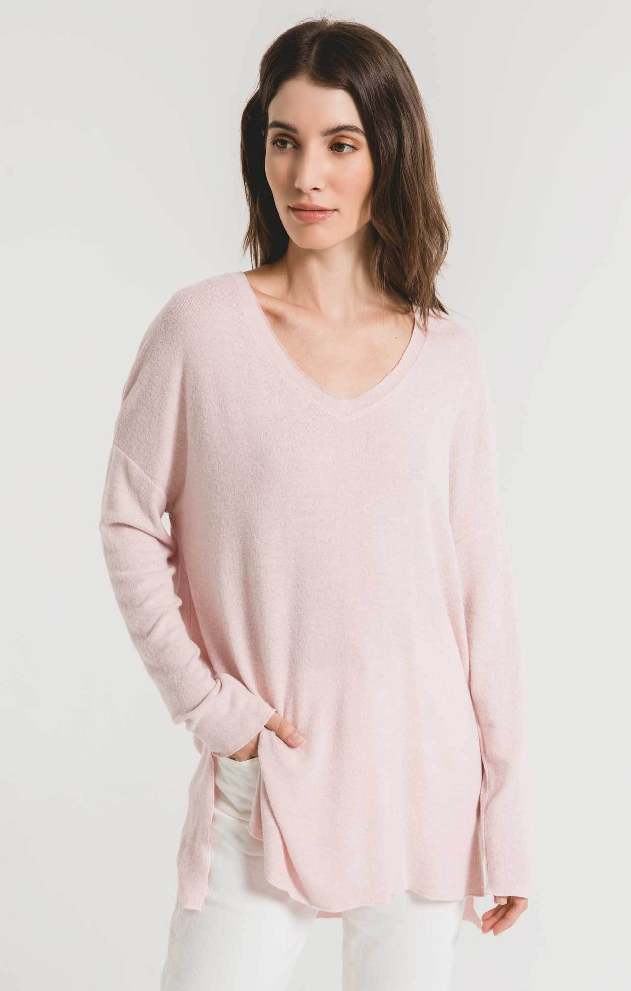 Tops Marled Sweater Knit V-Neck Tunic Pale Blush/Ivory
