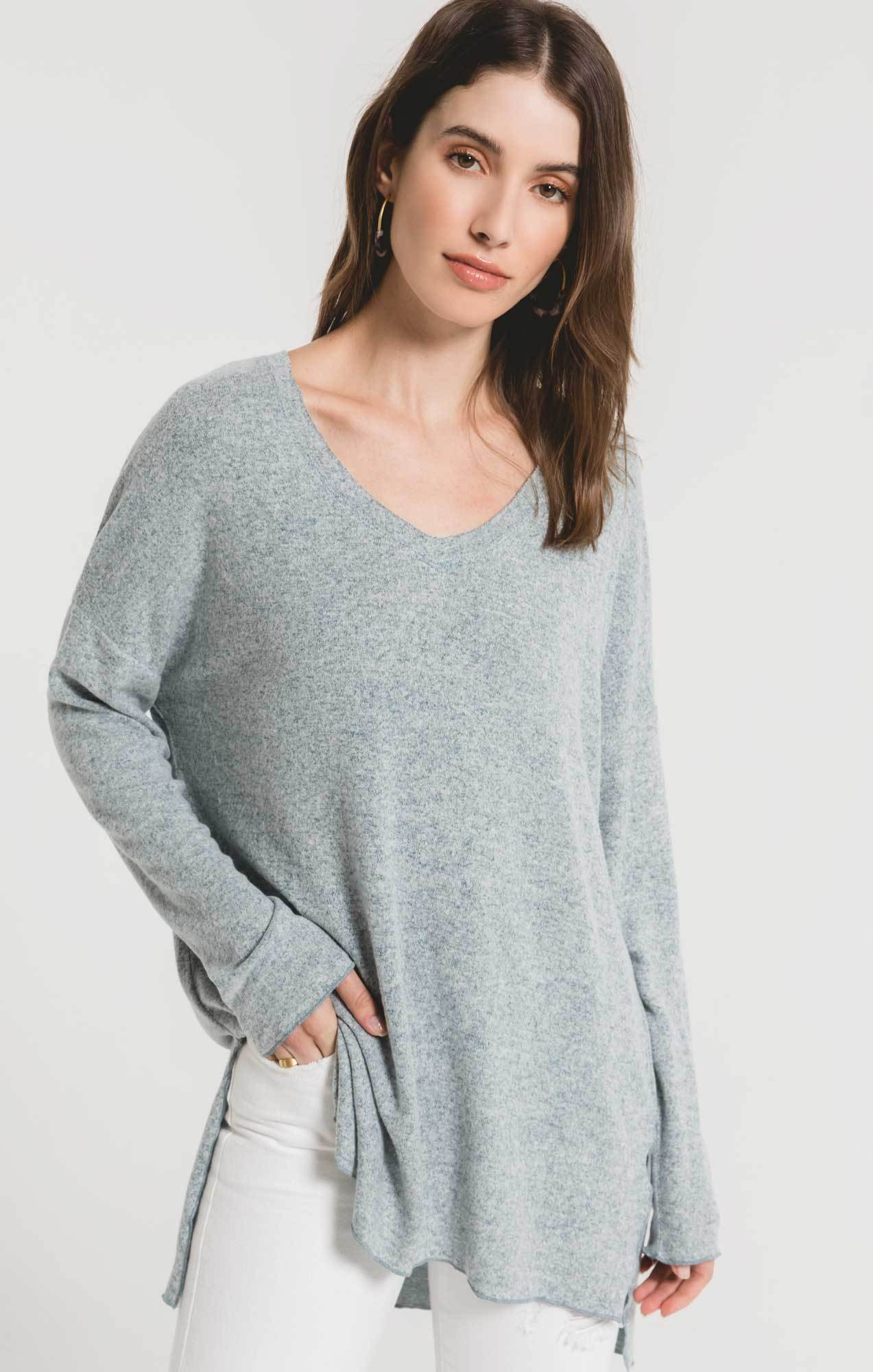 Tops Marled Sweater Knit V-Neck Tunic Marled Sweater Knit V-Neck Tunic
