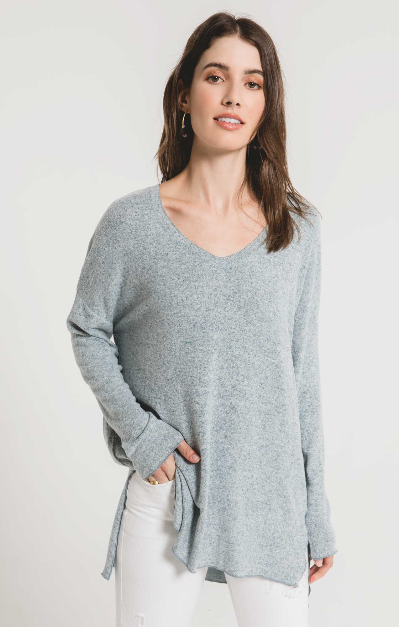 Tops Marled Sweater Knit V-Neck Tunic Storm Blue/Ivory