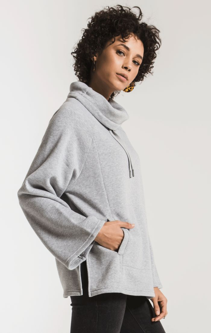 Jackets The Loft Fleece Cowl Neck Pullover Heather Grey