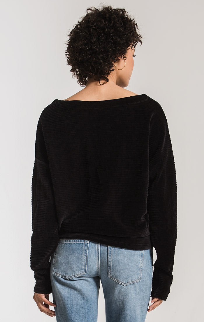 Tops Knit Corduroy Boat Neck Top Black