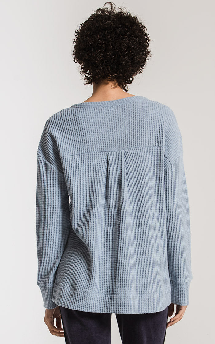 Tops Waffle Thermal Split Neck Top Ashley Blue