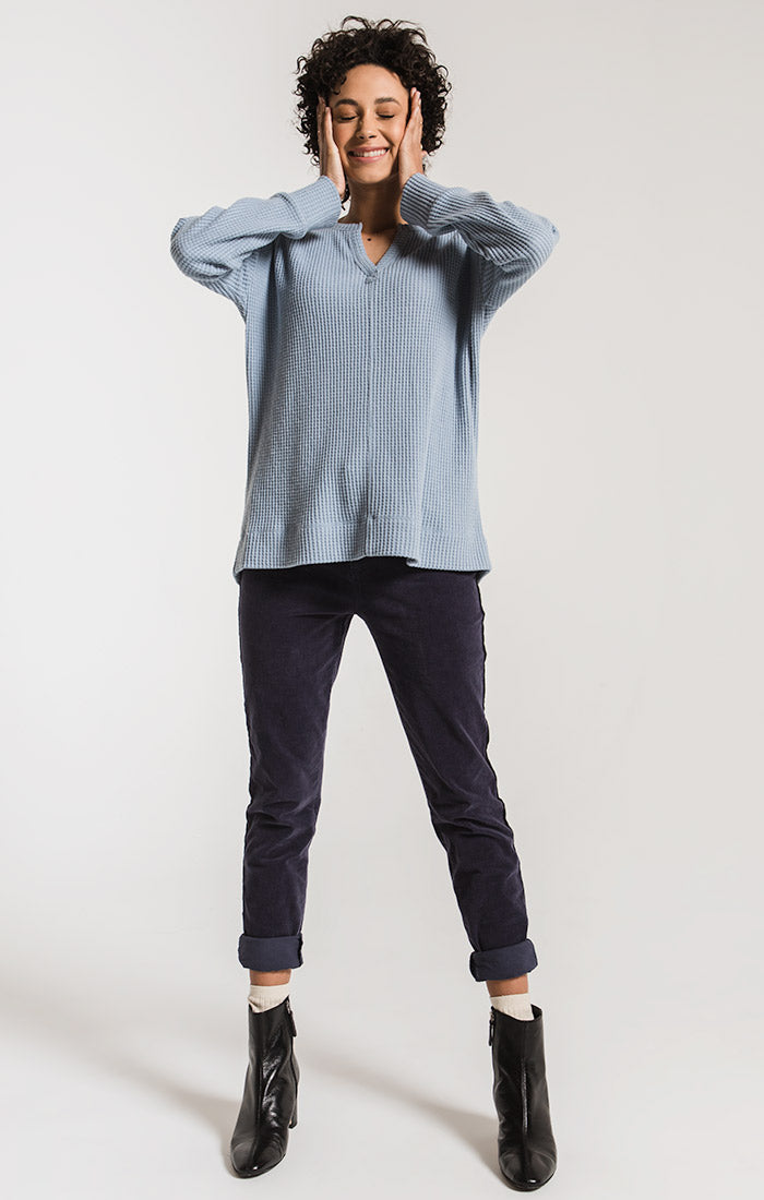 Tops The Waffle Thermal Split Neck Top Ashley Blue