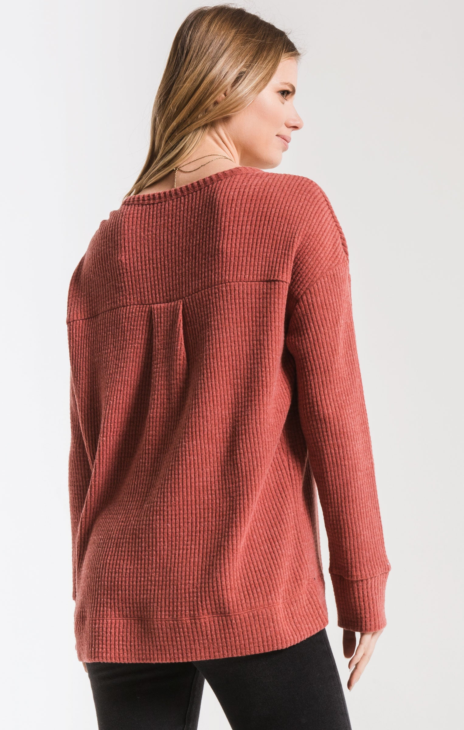 Tops The Waffle Thermal Split Neck Top Mesa Red