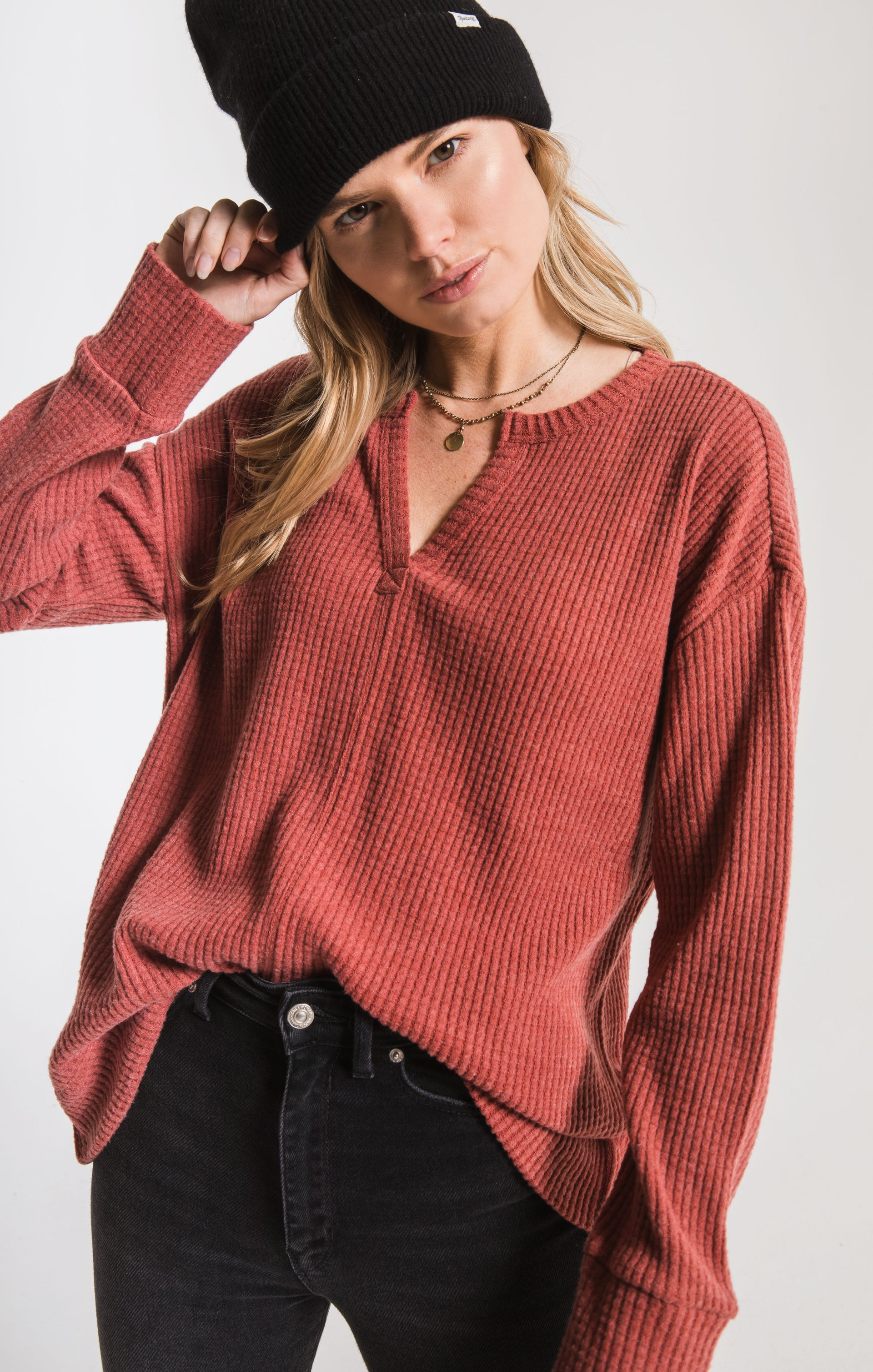 Tops Waffle Thermal Split Neck Top Mesa Red