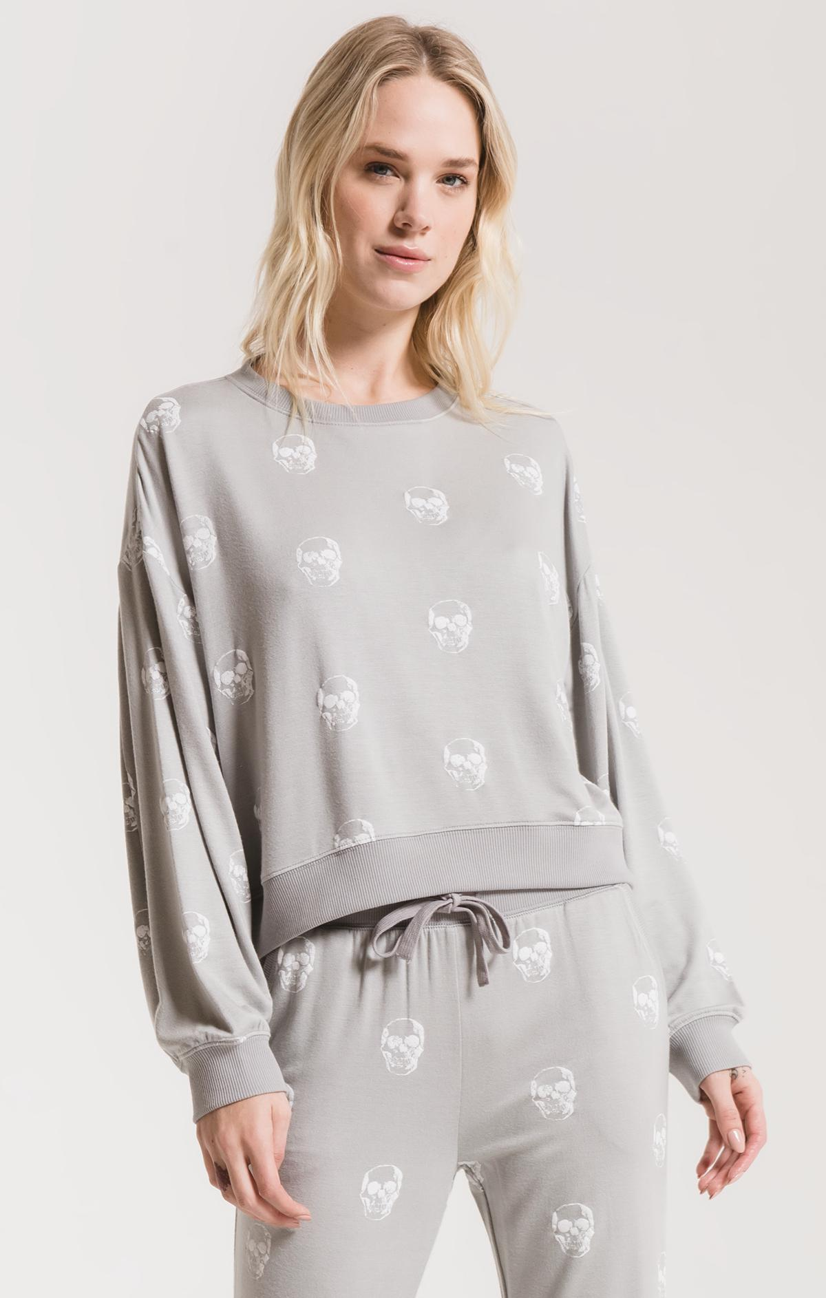Lounge The Skull Pullover Crew Cool Grey