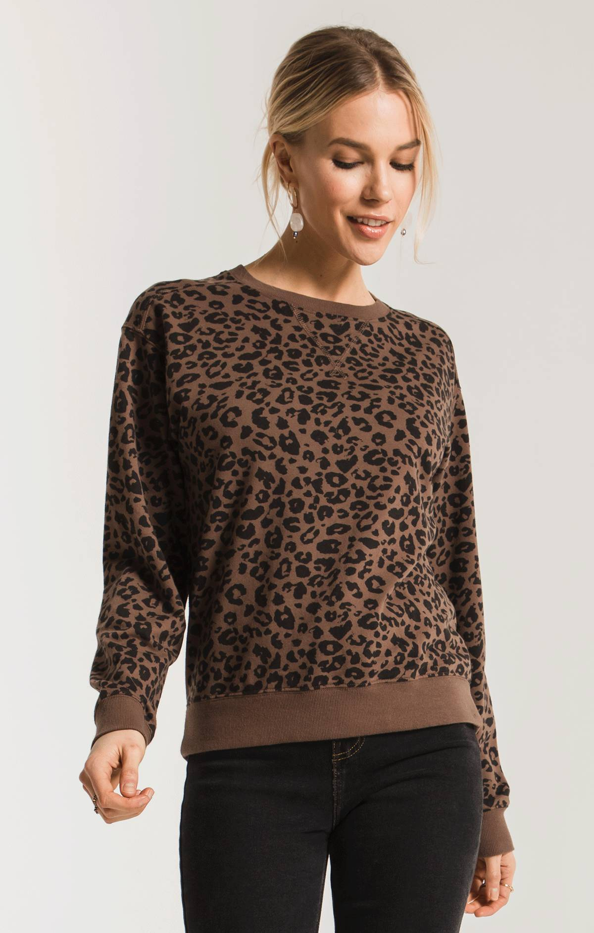 Tops Leopard Pullover French Roast