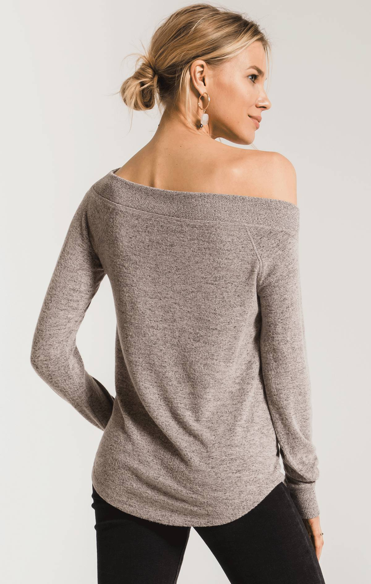 Tops Marled Sweater Knit One Shoulder Top Mushroom
