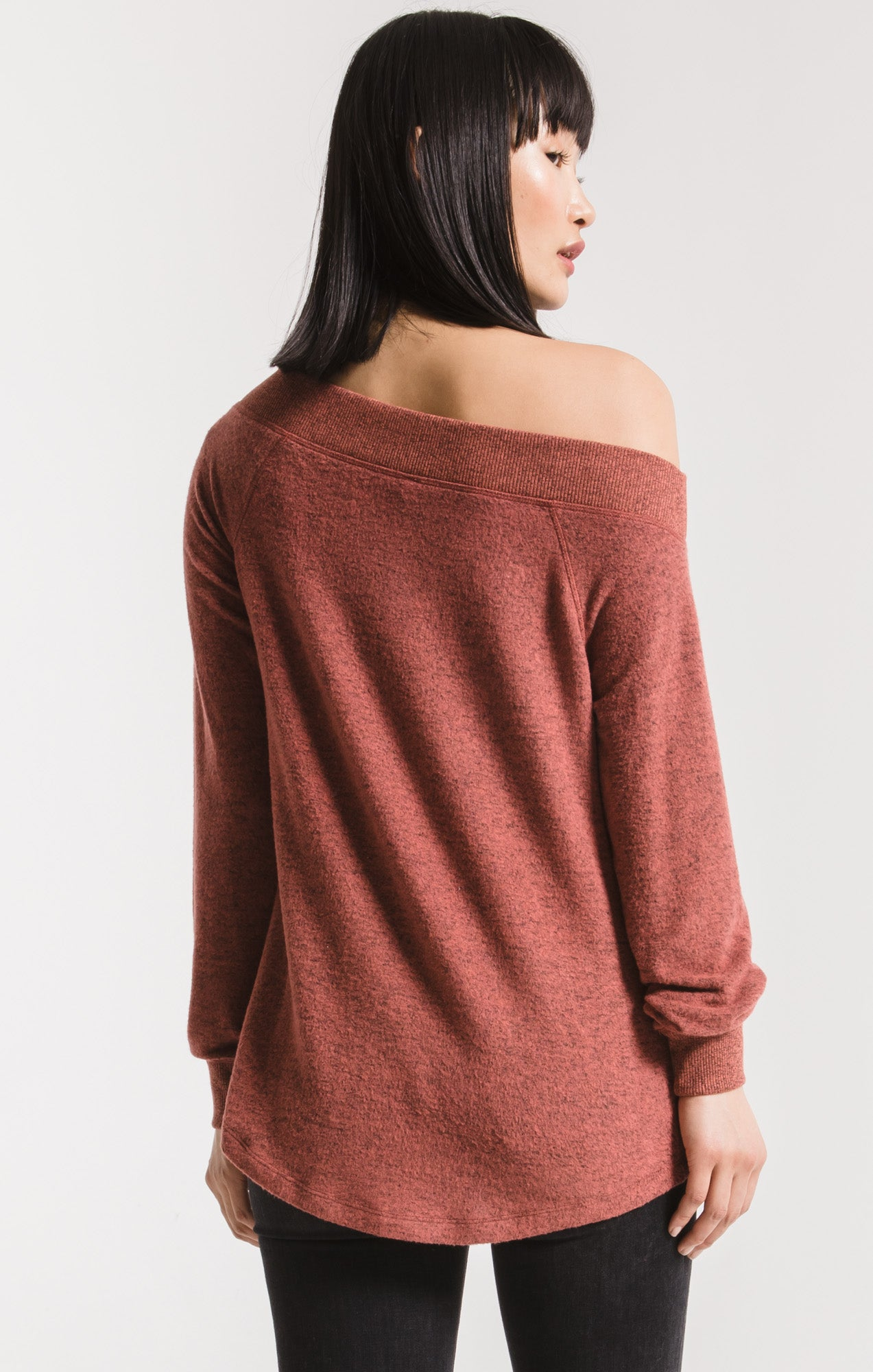 Tops Marled Sweater Knit One Shoulder Top Mesa Red