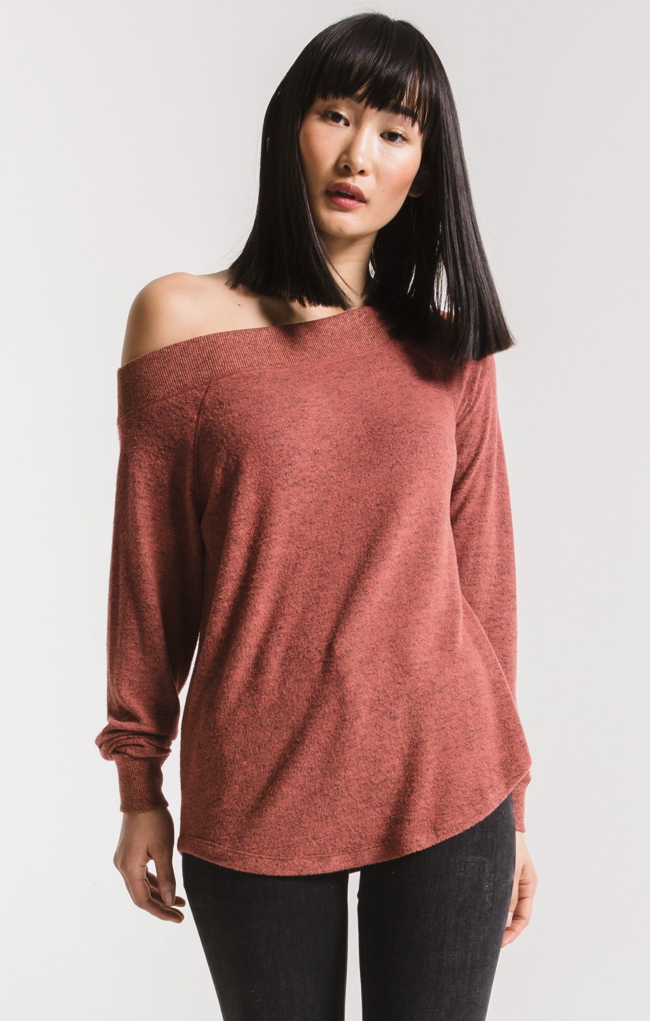 Tops The Marled Sweater Knit One Shoulder Top Mesa Red