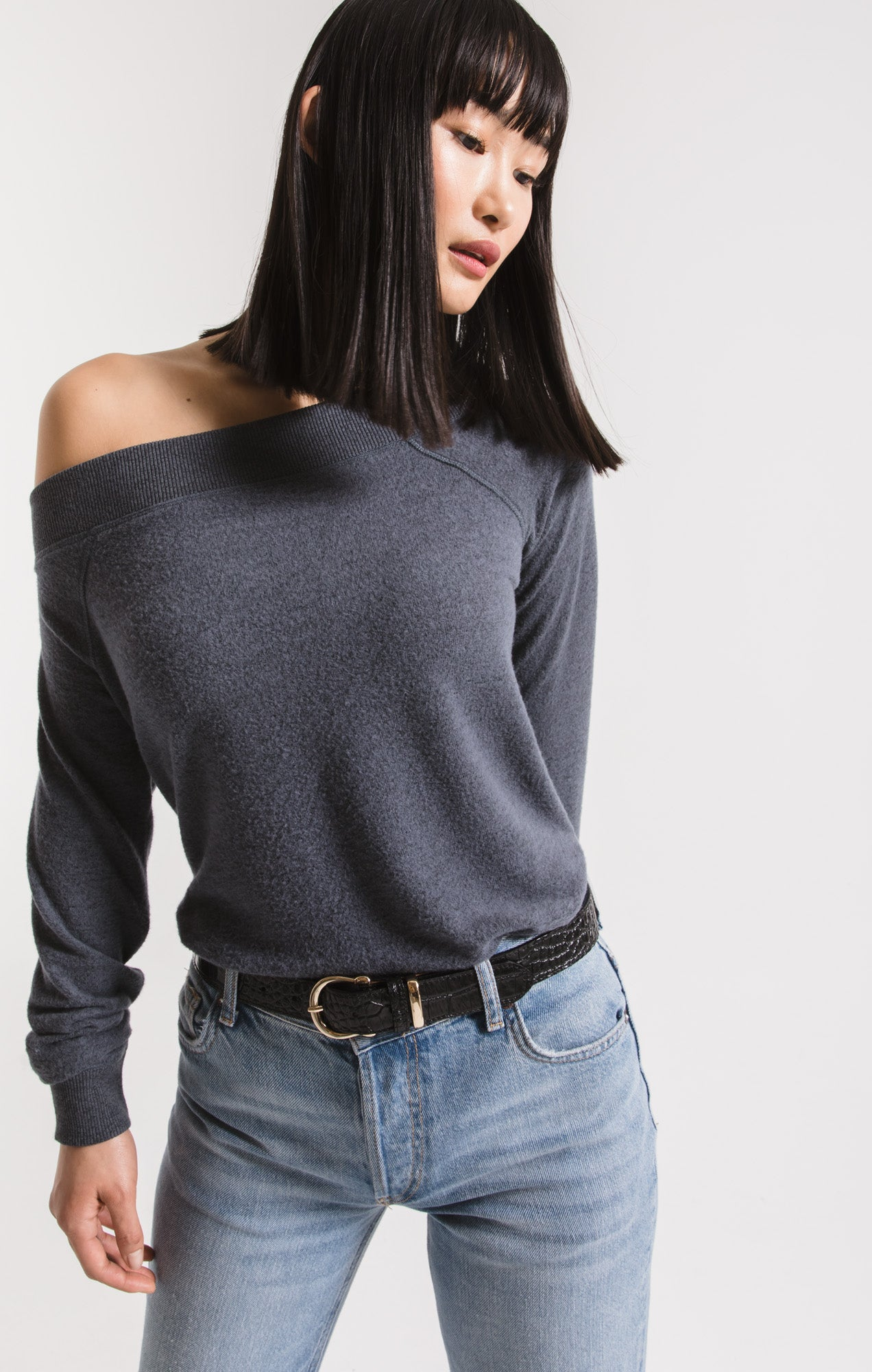 Tops Marled Sweater Knit One Shoulder Top Storm Grey