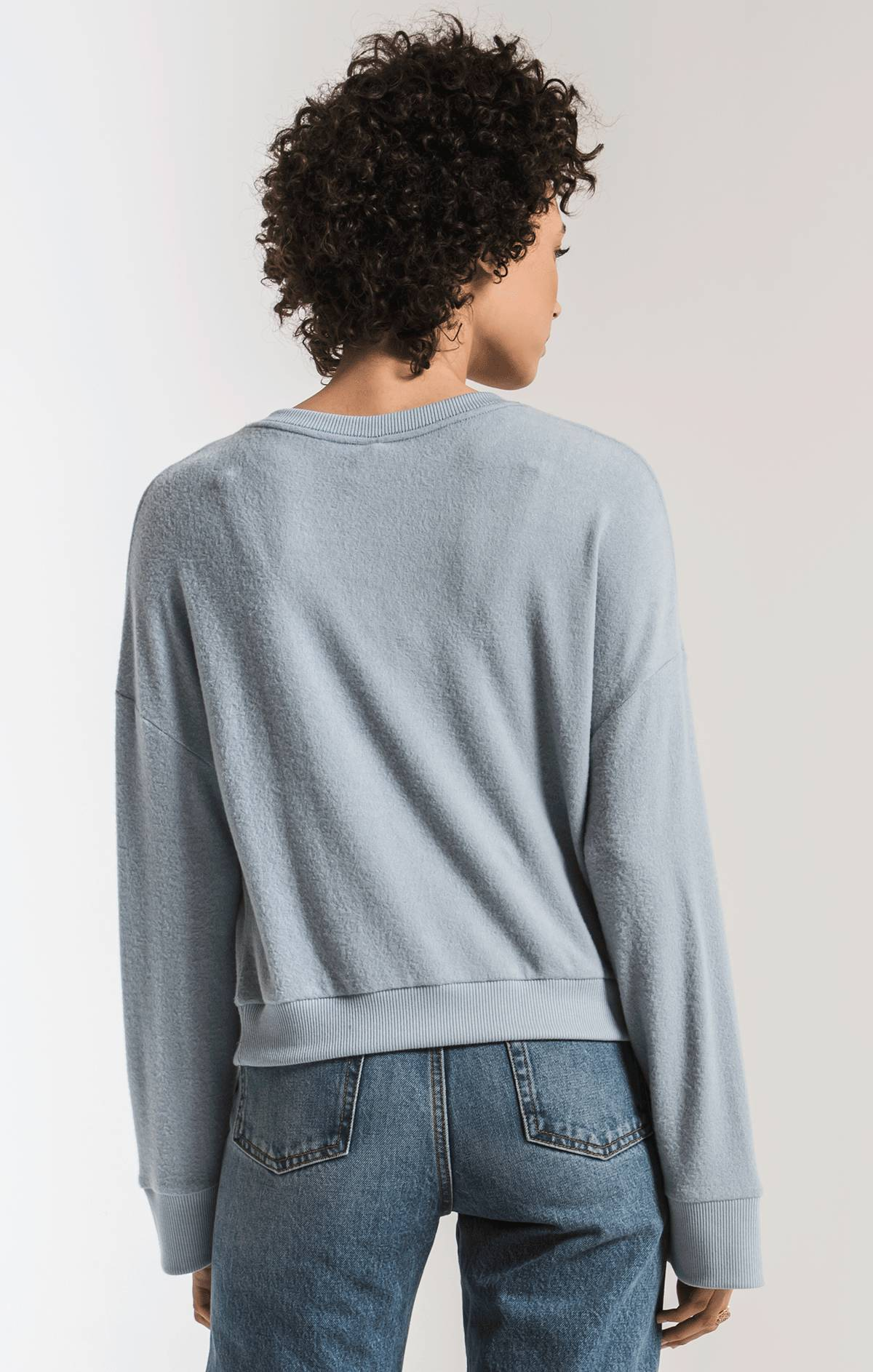 Tops The Sweater Knit Notch Front Pullover Ashley Blue