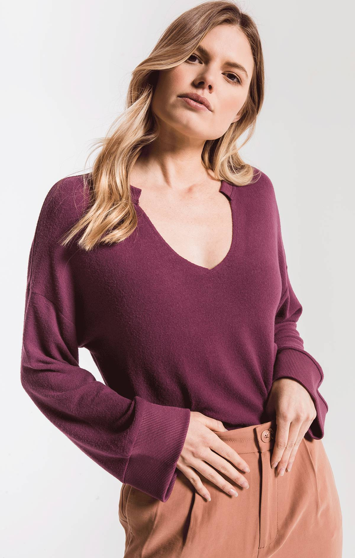 Tops The Sweater Knit Notch Front Pullover Mauve Wine