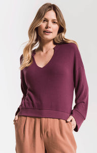 TopsThe Sweater Knit Notch Front Pullover Mauve Wine