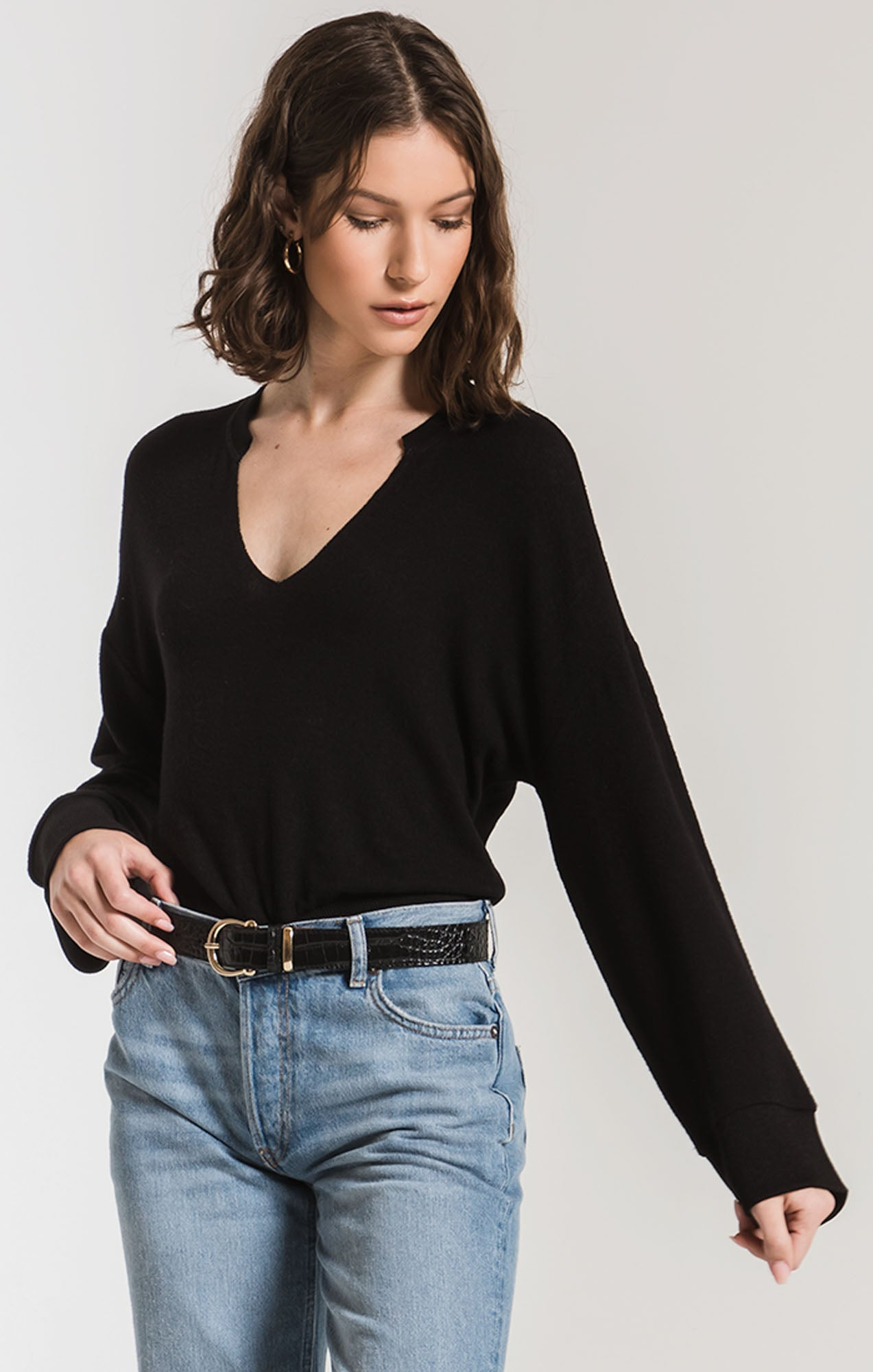 Tops The Sweater Knit Notch Front Pullover Black