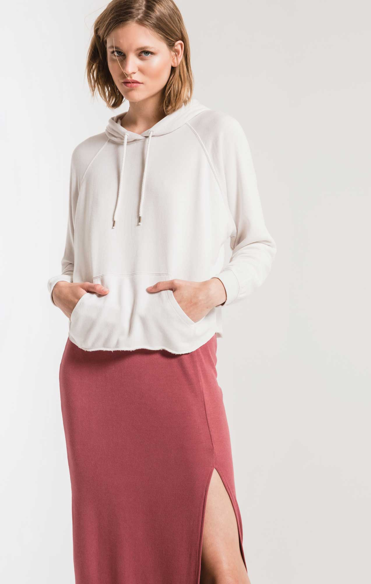 Tops The Premium Fleece Dolman Hoodie Champagne Mist