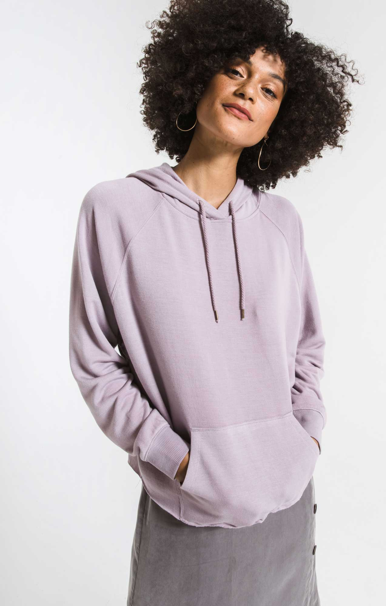 Tops The Premium Fleece Dolman Hoodie Lavender Fog