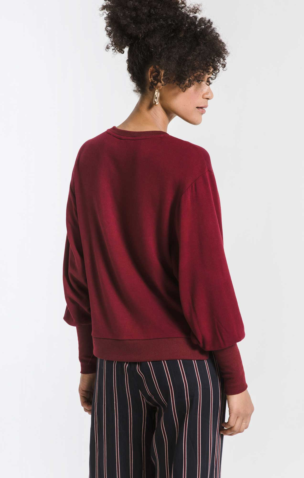 Tops Premium Fleece Puff Sleeve Top Cabernet