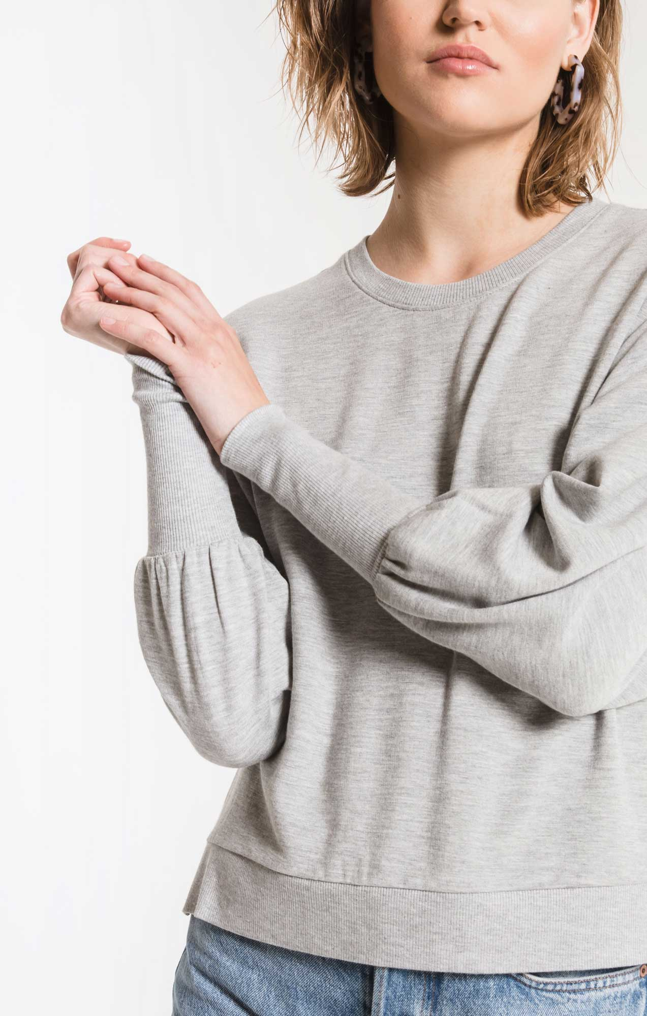 Tops Premium Fleece Puff Sleeve Top Heather Grey