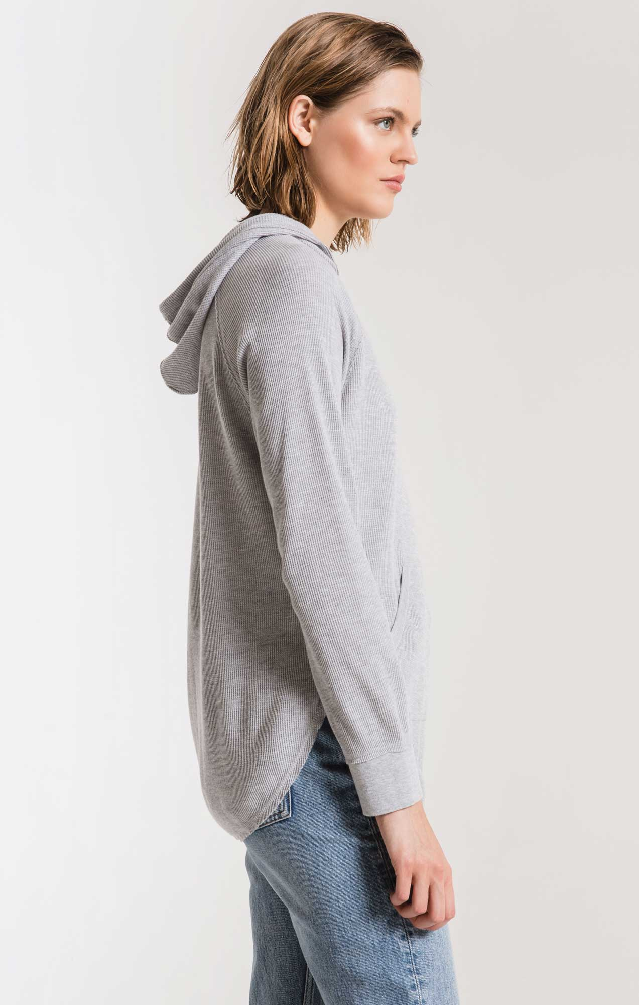 Tops Thermal Hooded Tunic Top Heather Grey