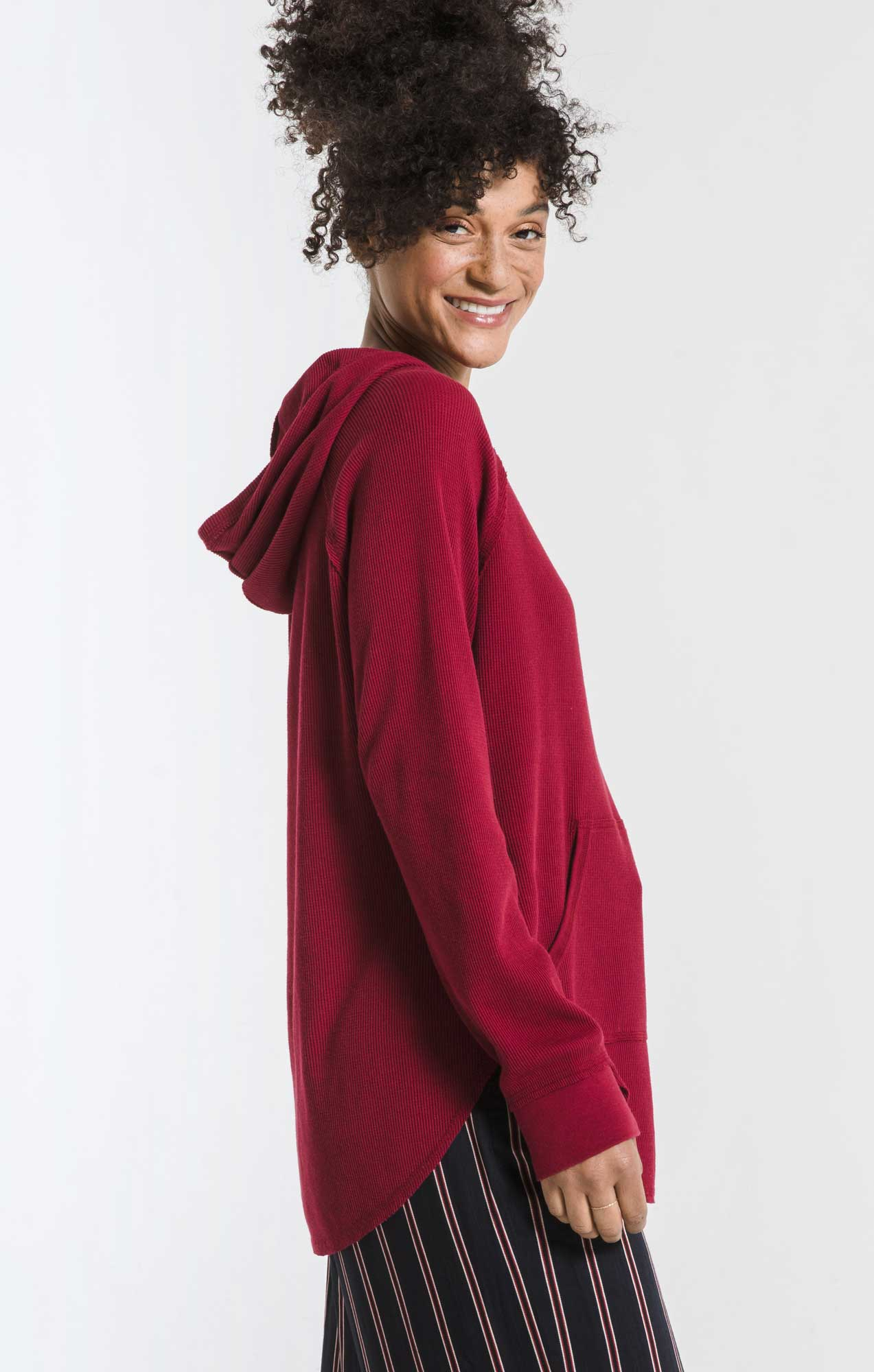 Tops Thermal Hooded Tunic Top Rumba Red