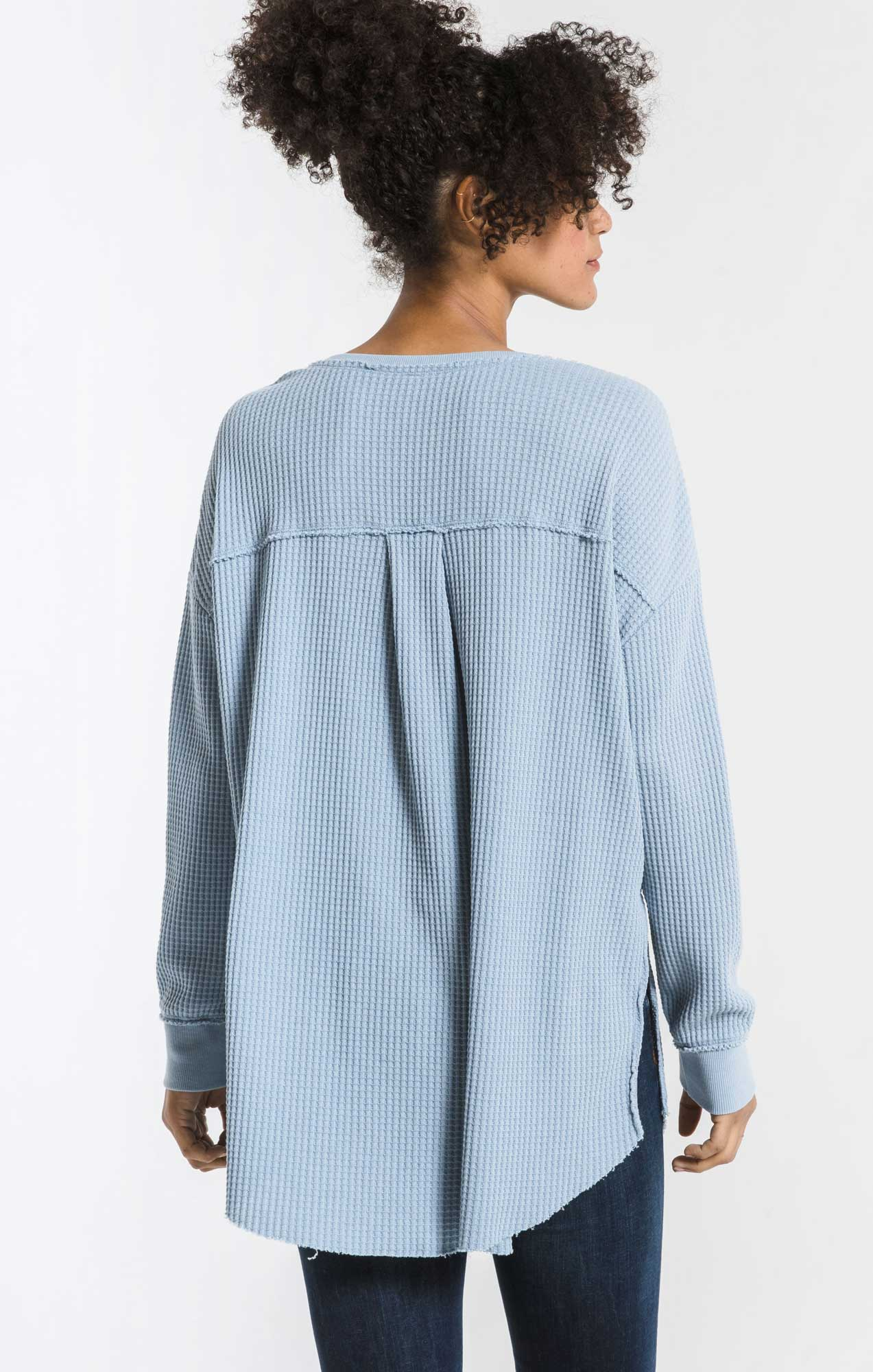 Tops Waffle Thermal Tunic Top Ashley Blue