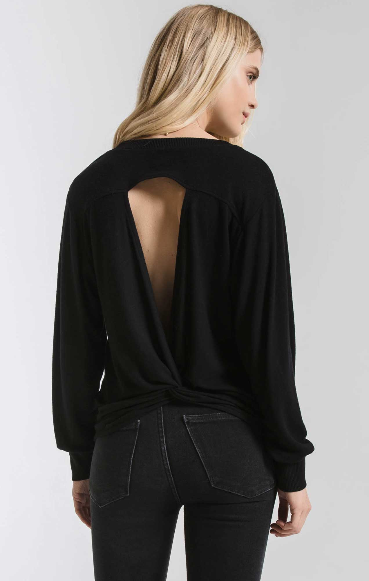 Tops Marled Twist Back Sweater Black