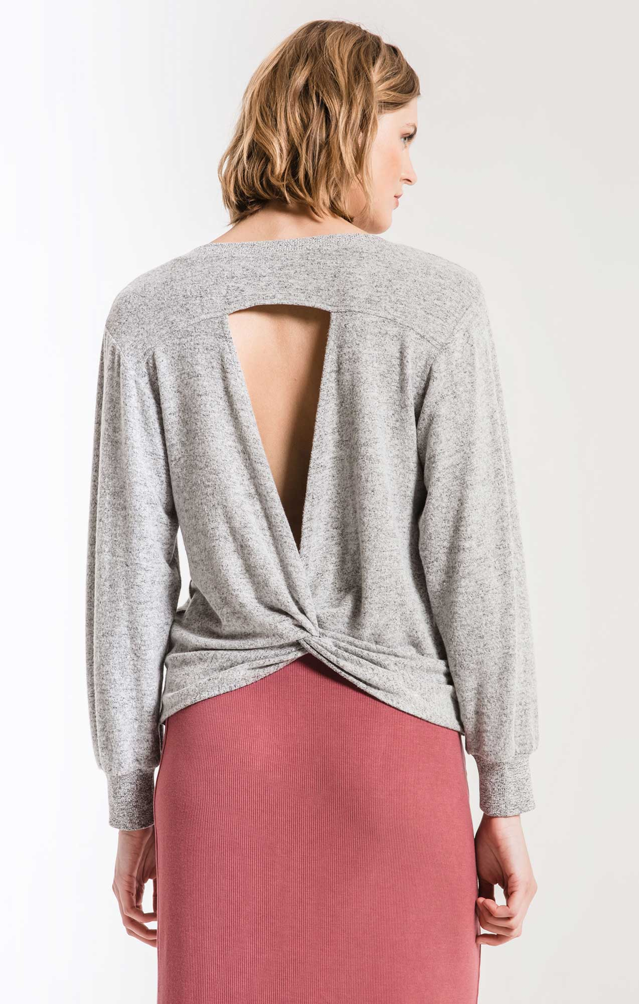 Tops The Marled Twist Back Sweater Heather Grey