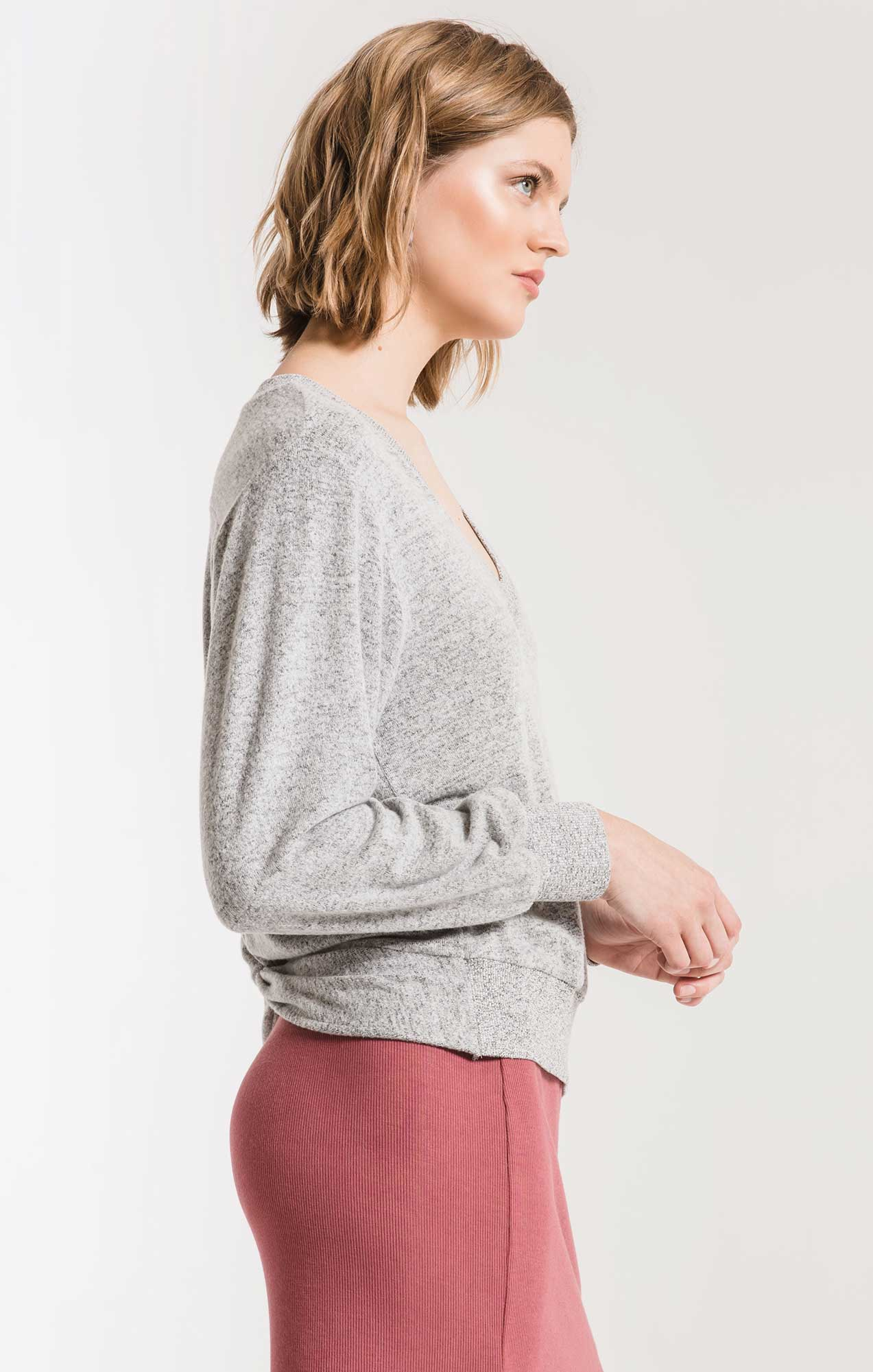 Tops Marled Twist Back Sweater Heather Grey