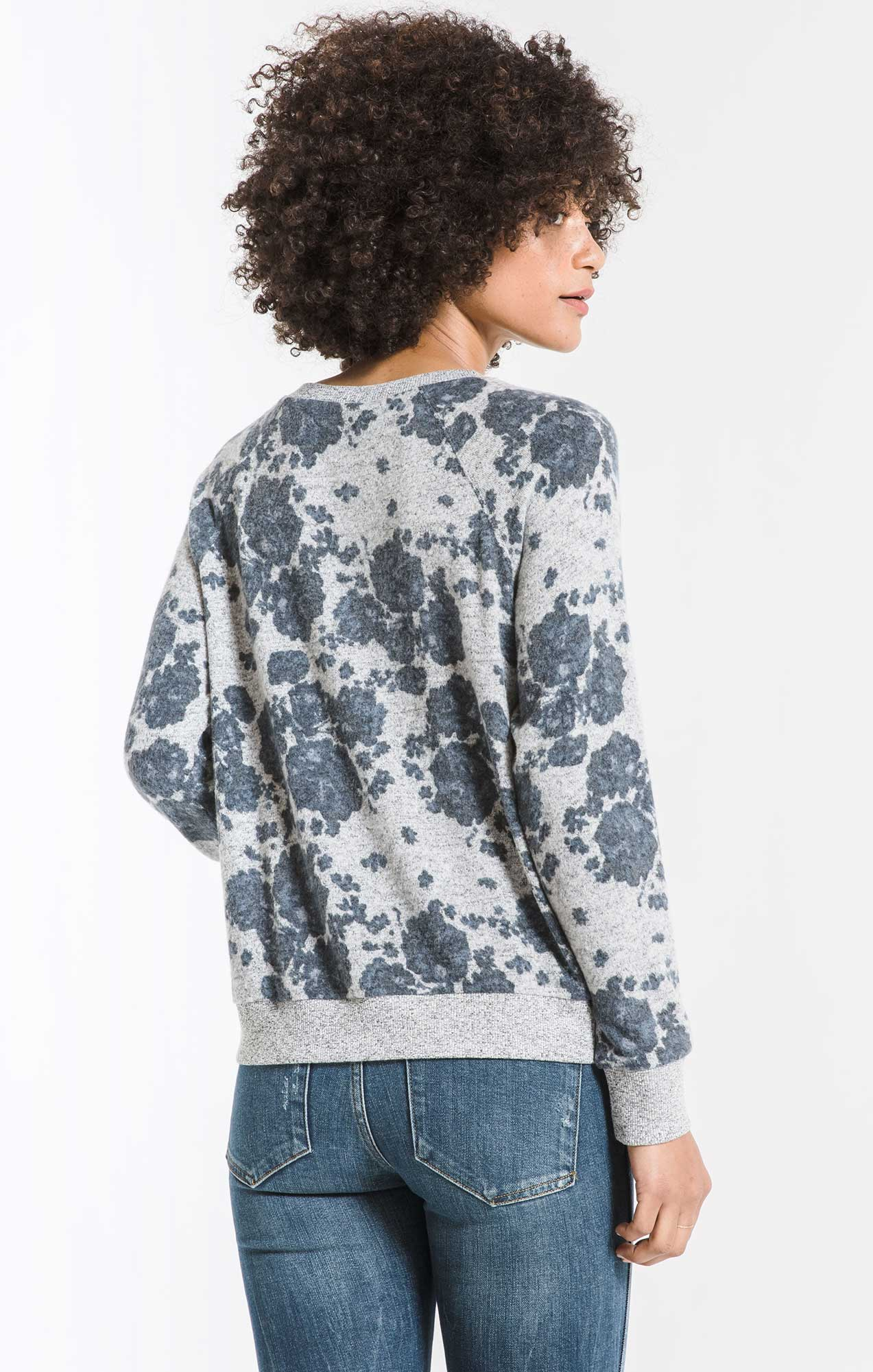 Tops The Marled Floral Pullover Heather Grey