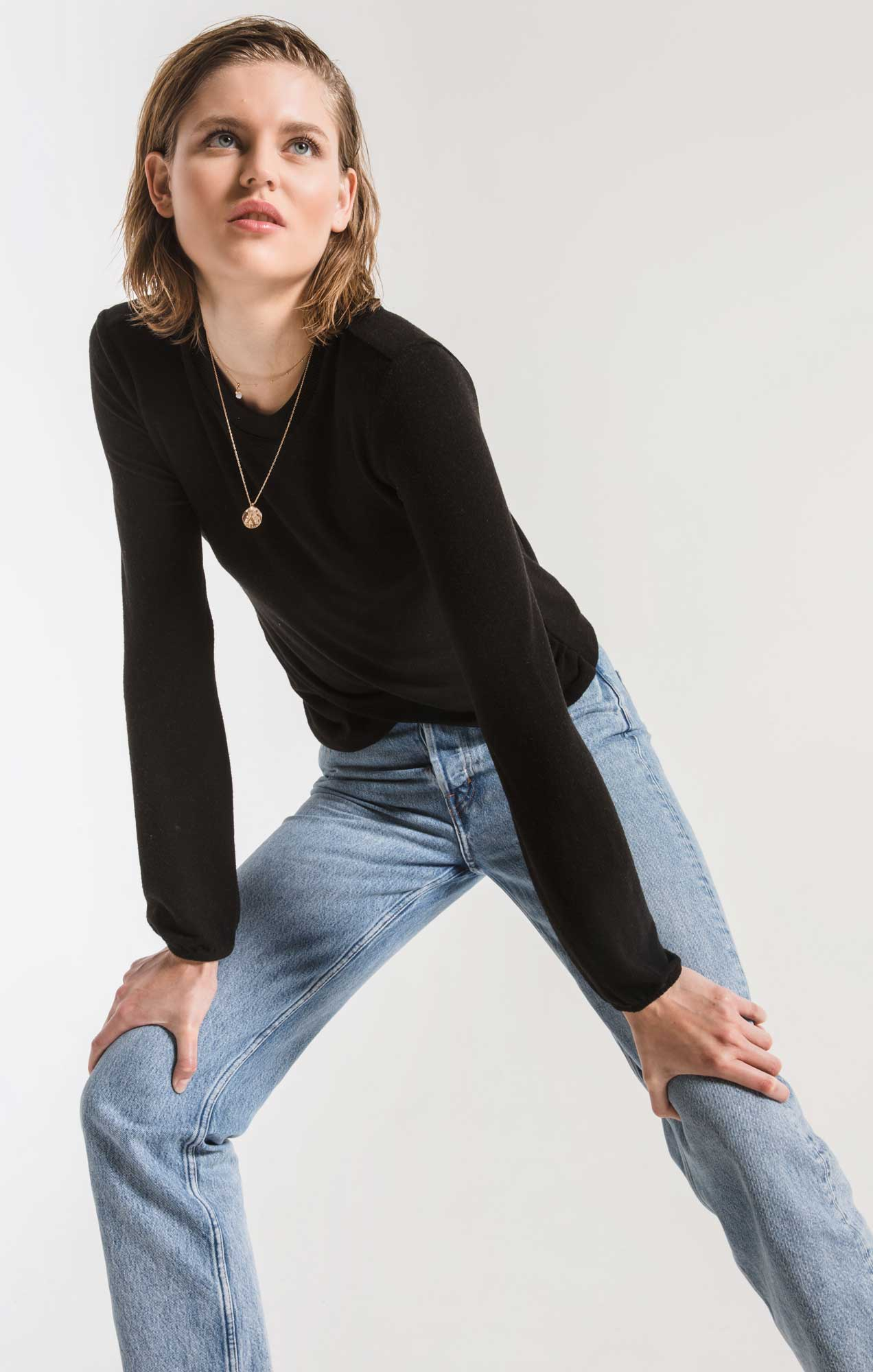 Tops The Soft Spun Ruched Long Sleeve Top Black