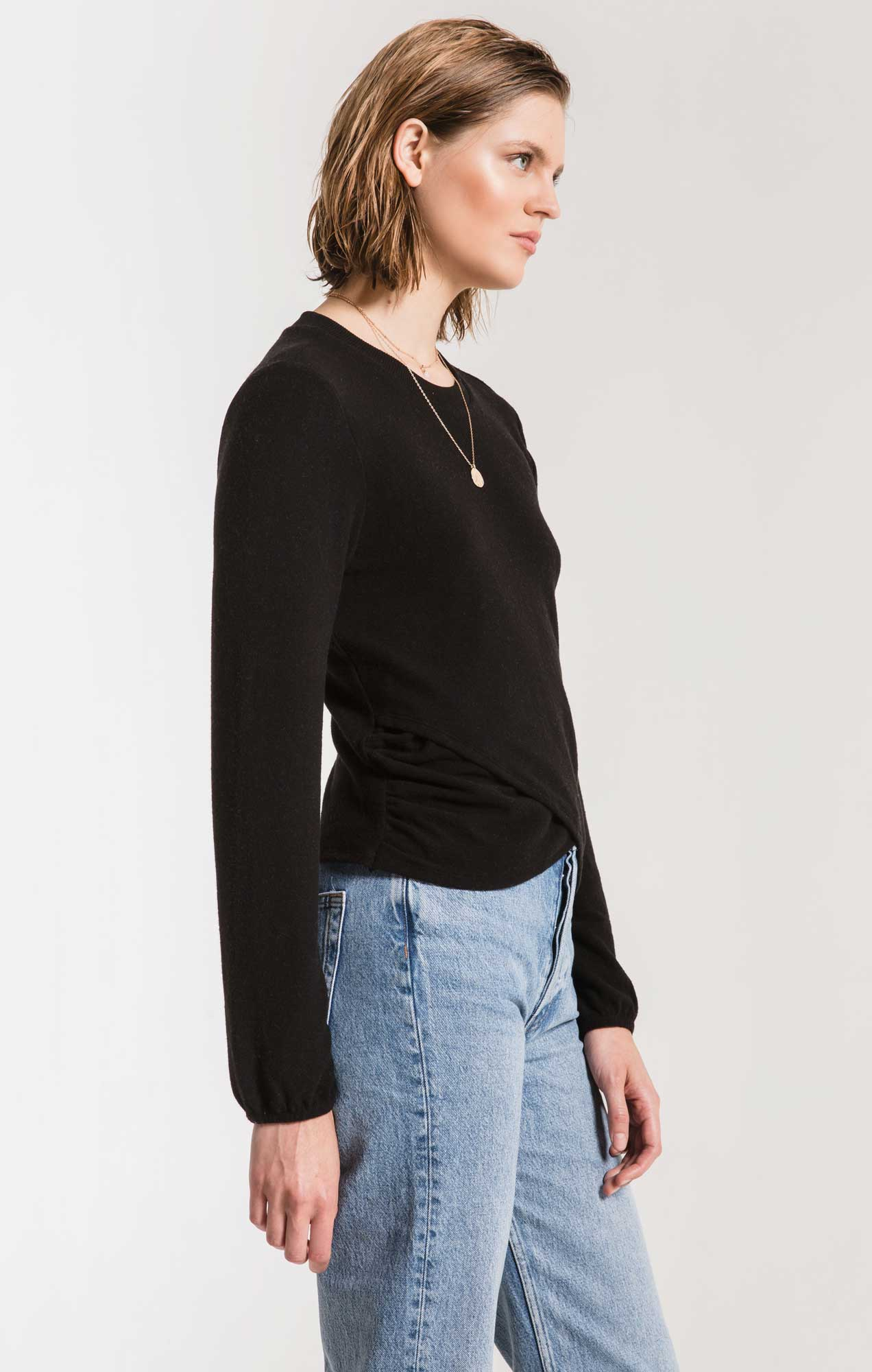 Tops Soft Spun Ruched Long Sleeve Top Black