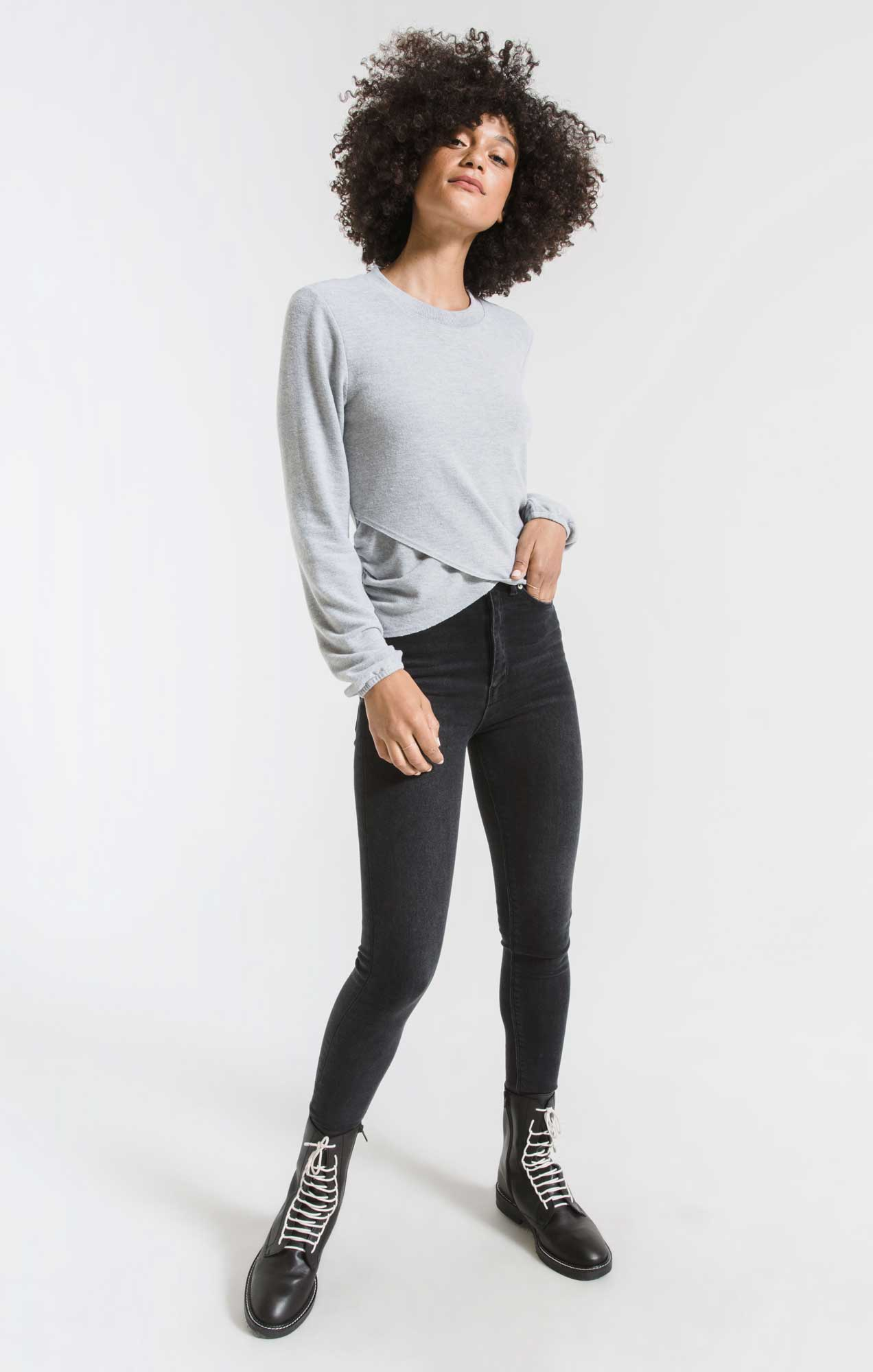 Tops Soft Spun Ruched Long Sleeve Top Heather Grey