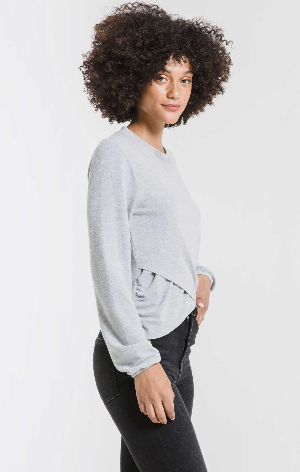 Tops The Soft Spun Ruched Long Sleeve Top Heather Grey