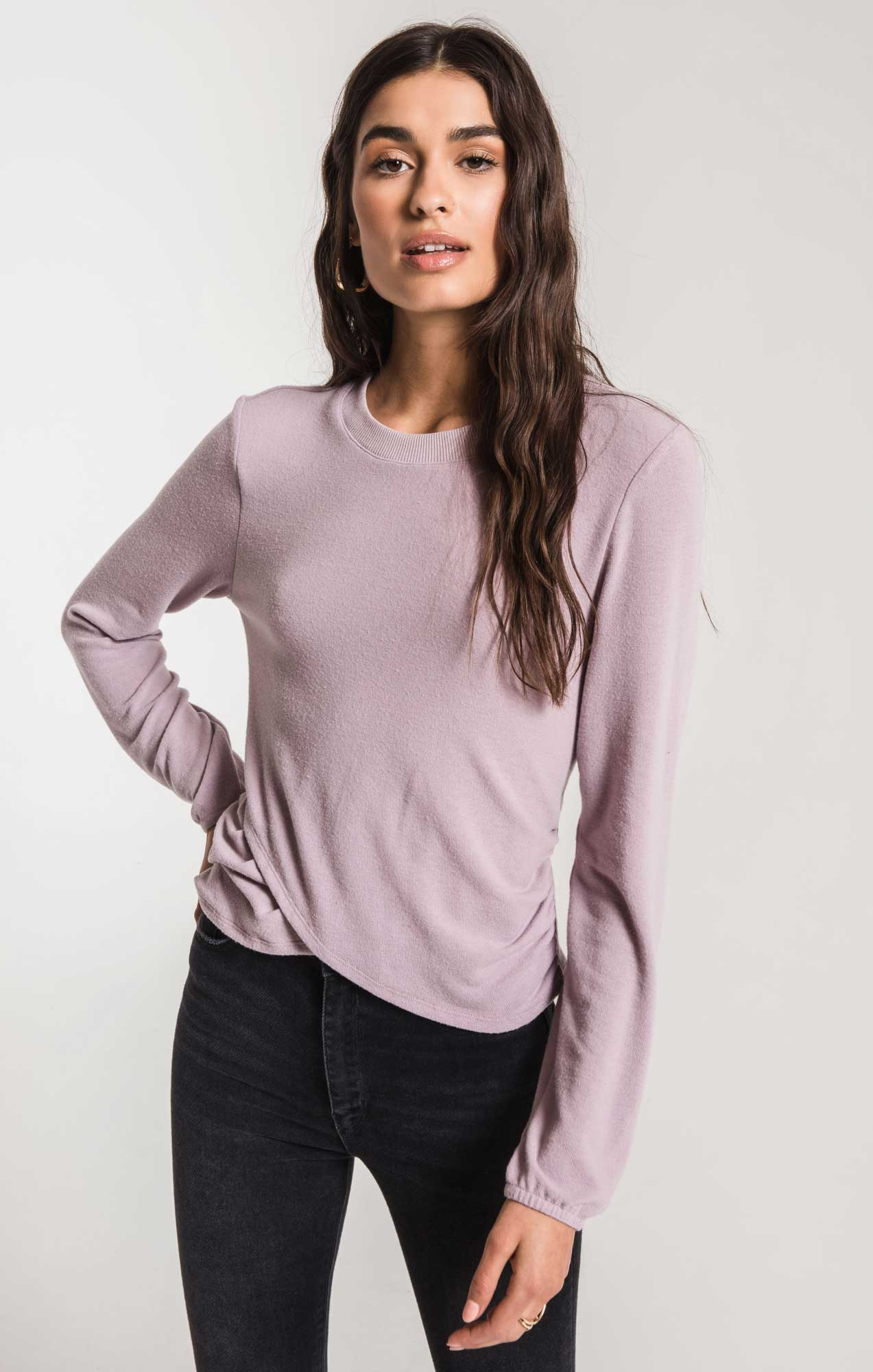 Tops Soft Spun Ruched Long Sleeve Top Lavender Fog