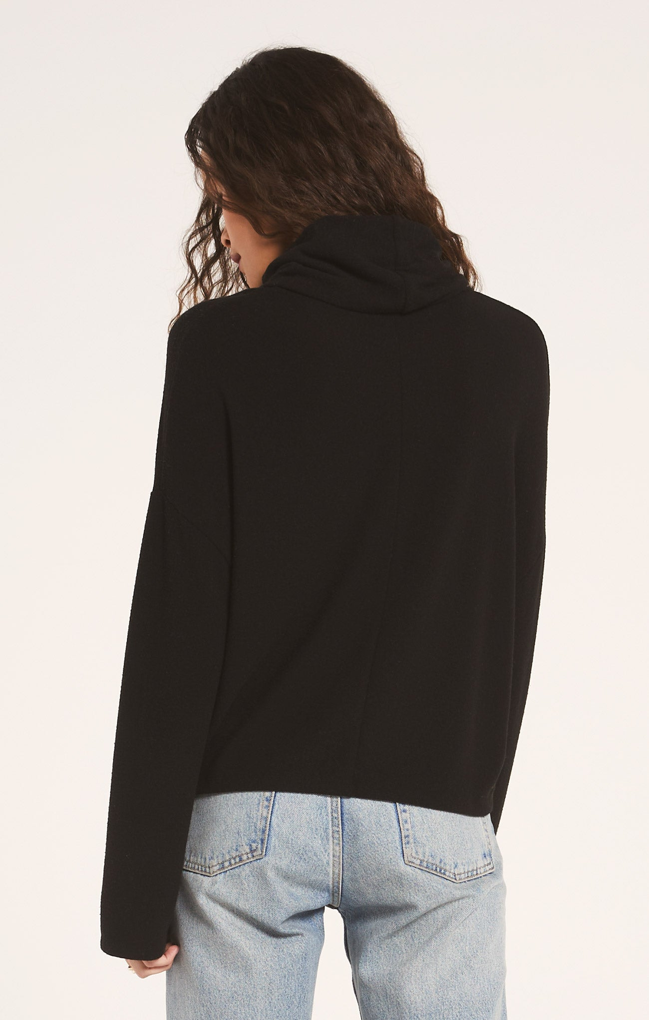 Tops The Soft Spun Skimmer Mock Neck Top Black