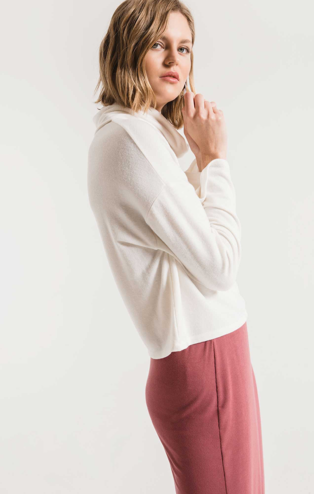 Tops The Soft Spun Skimmer Mock Neck Top Champagne Mist