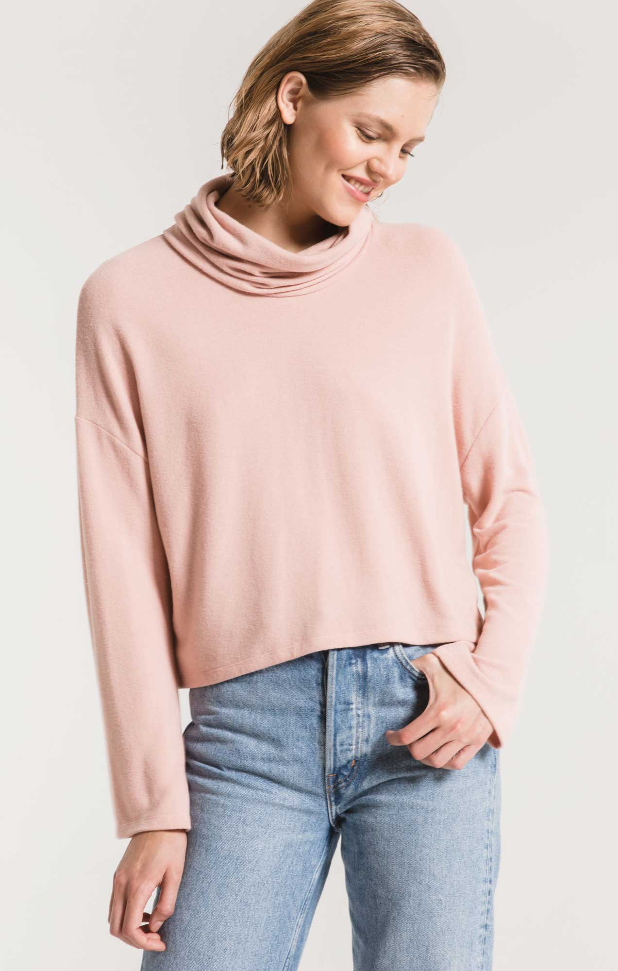 Tops The Soft Spun Skimmer Mock Neck Top Mauve Blush