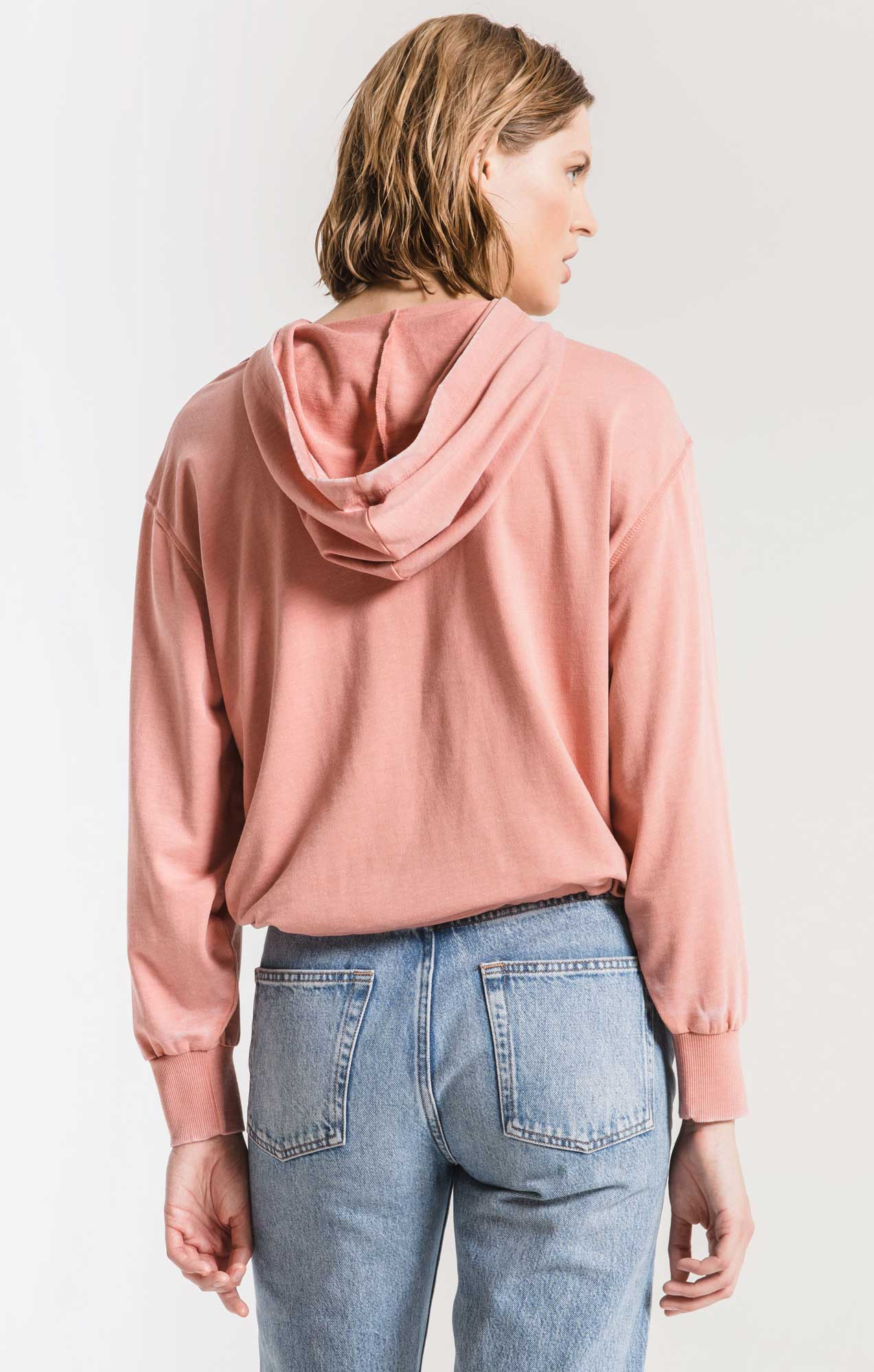 Tops Burnout French Terry Hoodie Cameo Blush