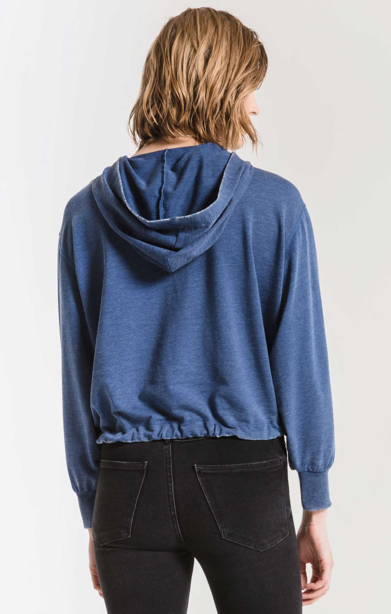 Tops Burnout French Terry Hoodie Estate Blue