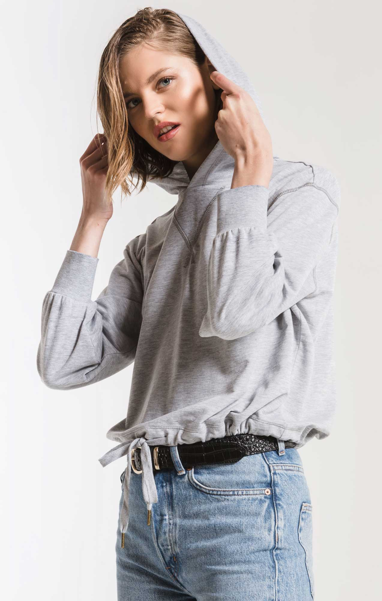 Tops Burnout French Terry Hoodie Heather Grey