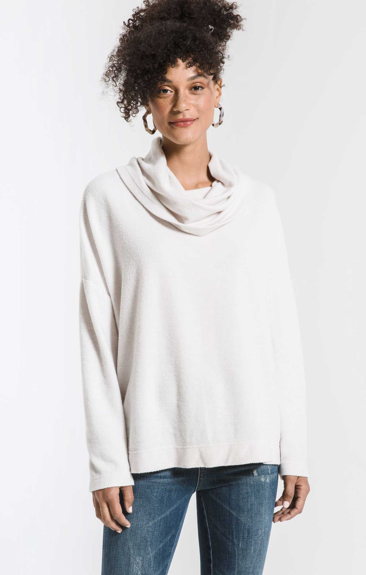 Tops The Fleece Scallop Back Top Champagne Mist