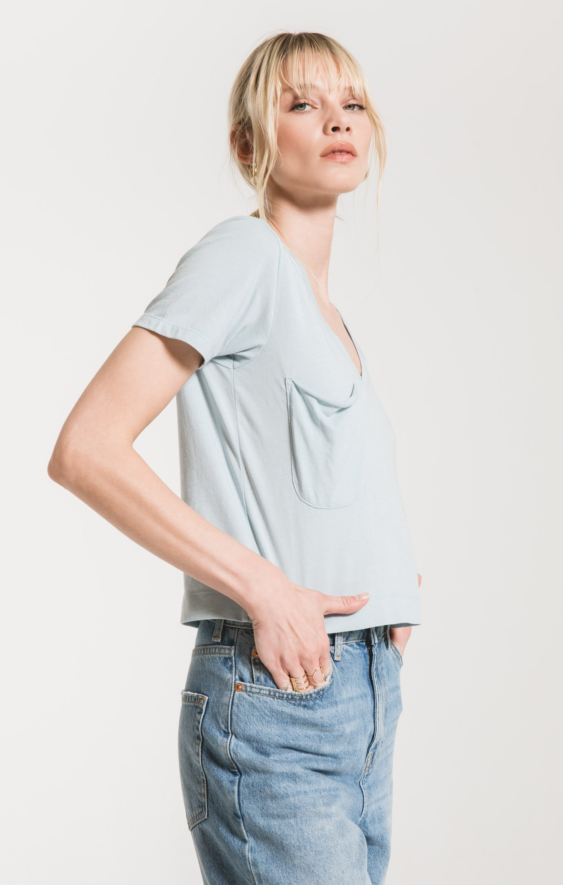 Tops Classic Skimmer Crop Tee Sandwashed Blue