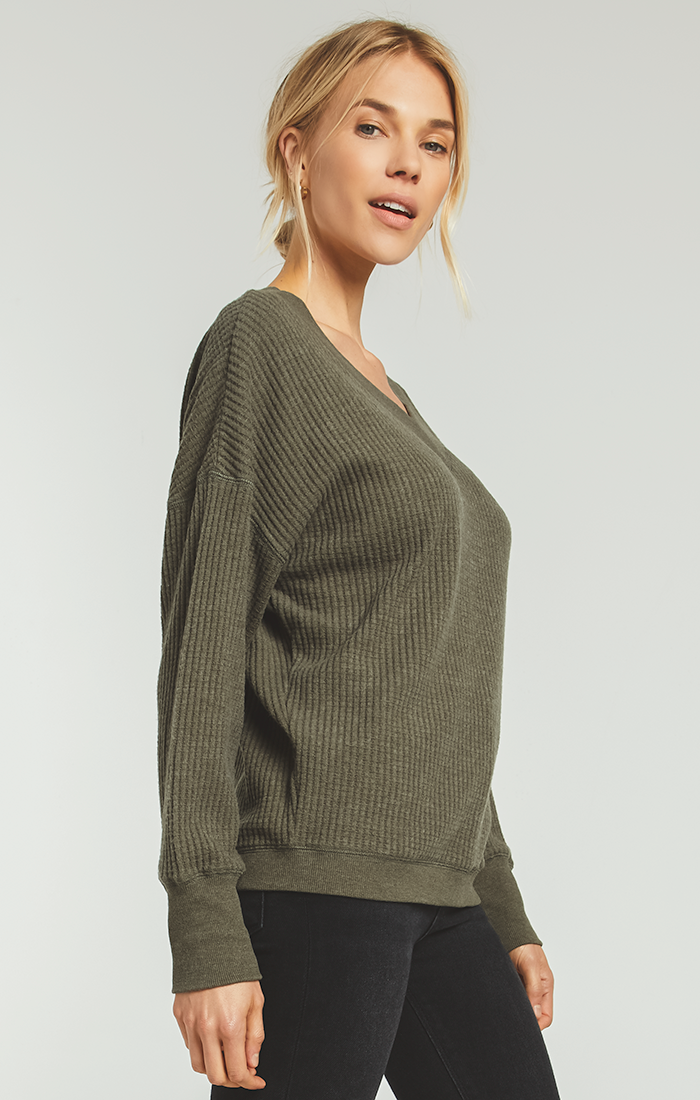 Tops Emilia Waffle Thermal Top Forest Night