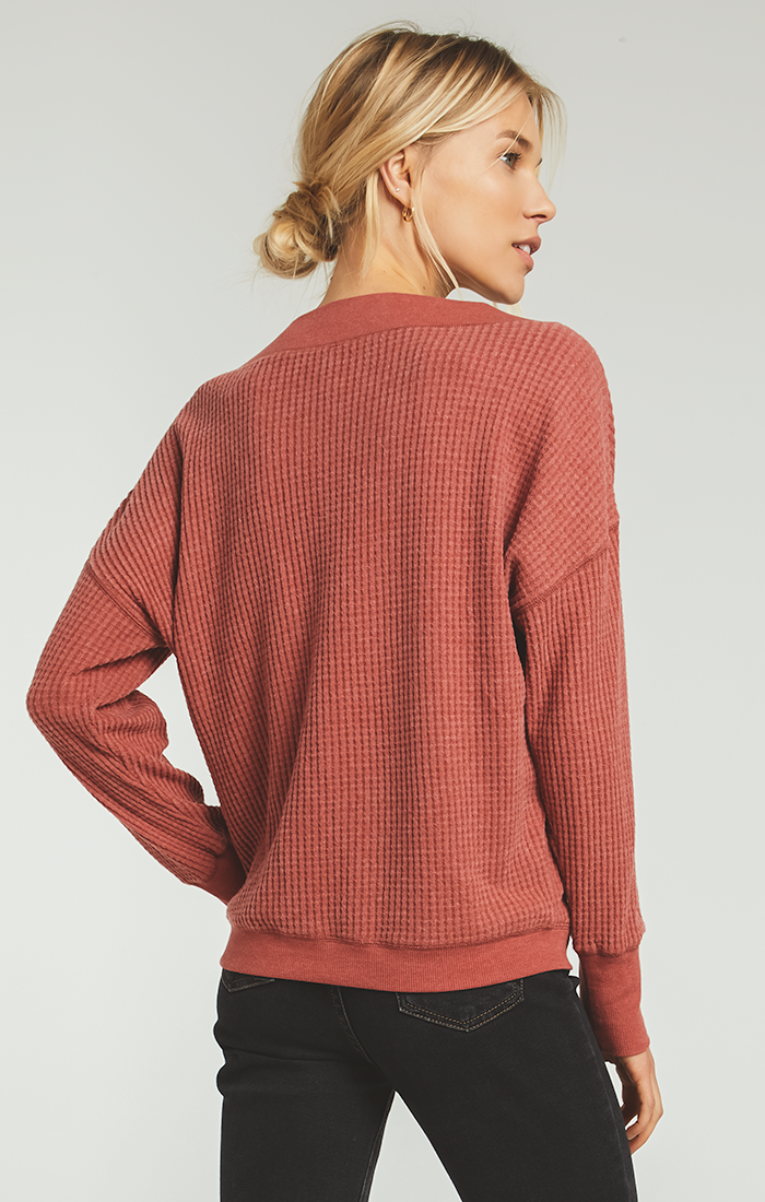 Tops Emilia Waffle Thermal Top Mesa Red