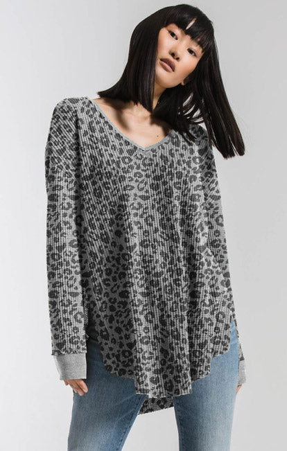 Tops Thermal Leopard Tunic Top Heather Grey Combo